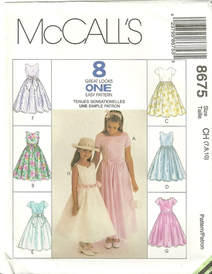 Easy Girls Dress Free Pattern | ... Flower Girl Easter Dress Sewing Pattern 8 Styles Easy Size 7 - 8 - 10