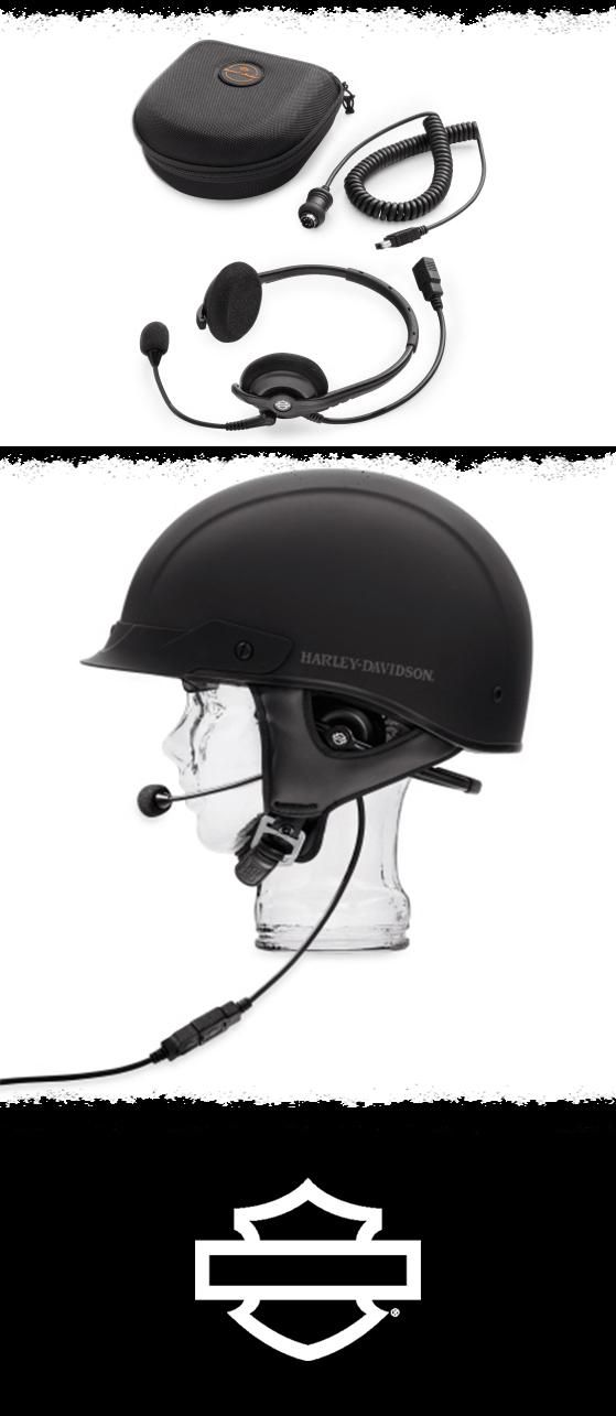 This comfortable headset is designed to allow full music and communication function while wearing a half helmet. | Harley-Davidson Boom! Audio Premium Half Helmet Music & Communications Headset #FathersDay