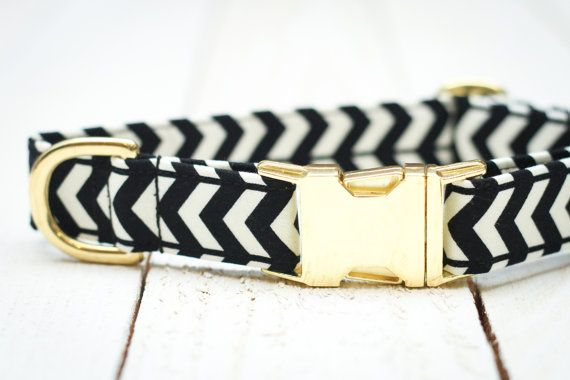 Black and Gold Dog Collar Black Chevron Arrows by ZaleyDesigns - Reminds me of Kate Spade!