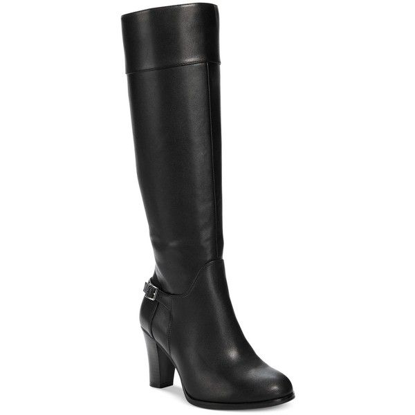 Giani Bernini Boelyn Tall Riding Boots, ($130) ❤ liked on Polyvore featuring shoes, boots, black, black knee high riding boots, tall riding boots, black boots, riding boots and tall black boots
