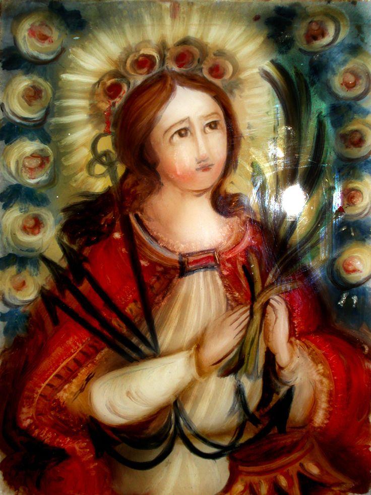 S. Filomena Dipinto su Vetro cm 40x30