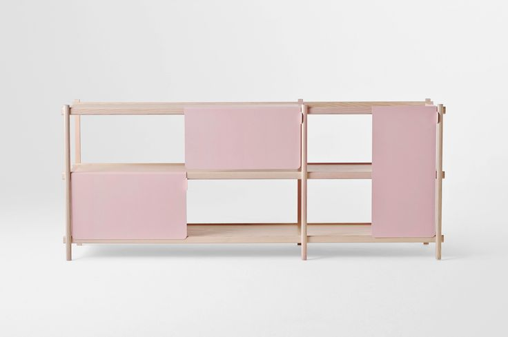 Half Cab is a minimal sideboard created by Toronto-based design firm MSDS. Half Cab derives its name from the fact that the doors cover half of the area of the cabinet face, providing equal parts concealment and display. The doors are made of painted aluminum and are designed to drape over and slide easily along the scaffolding-like frame.