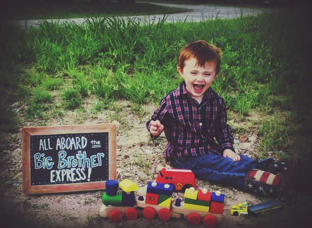 Cute pregnancy announcement for toddlers who love trains! All aboard the Big Brother Express!