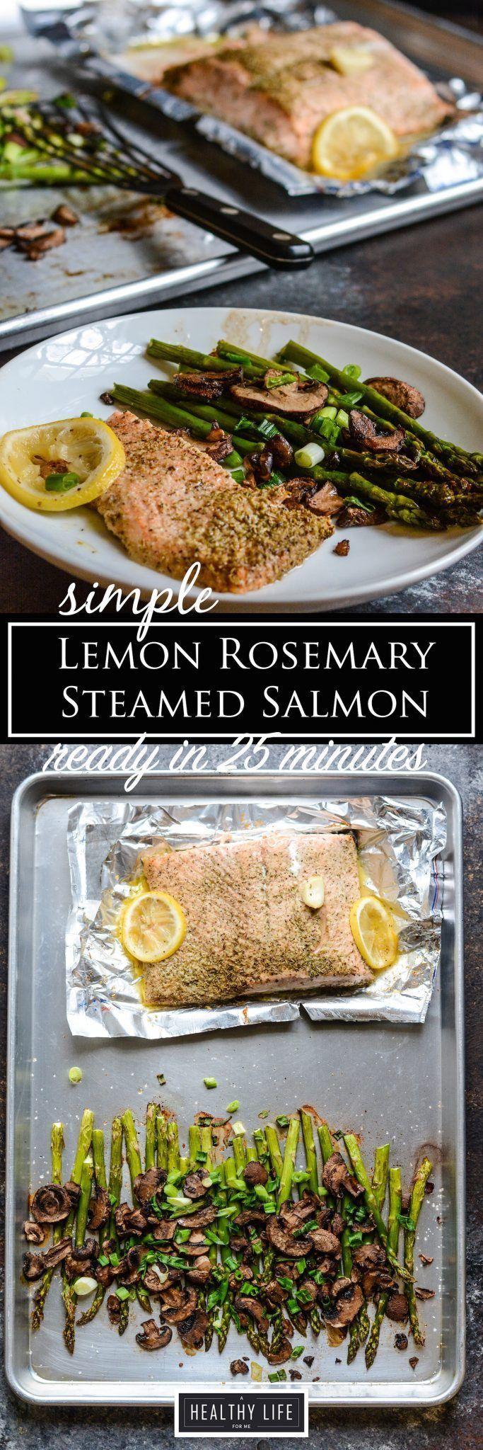 Simple Lemon Rosemary Steamed Salmon ready for you recipe |  Healthy Recipe | Seafood Recipe | Paleo Recipe | Weeknight Dinner Recipe | Easy Recipe | Salmon Recipe