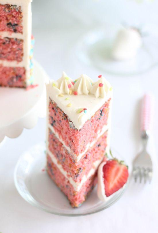 Strawberry Confetti Cake with Tahitian Vanilla Bean Swiss Buttercream