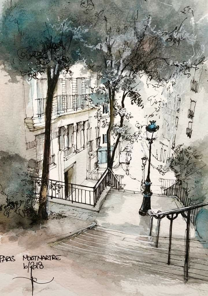 Love The Mood Of This Watercolor Architecture Architecture