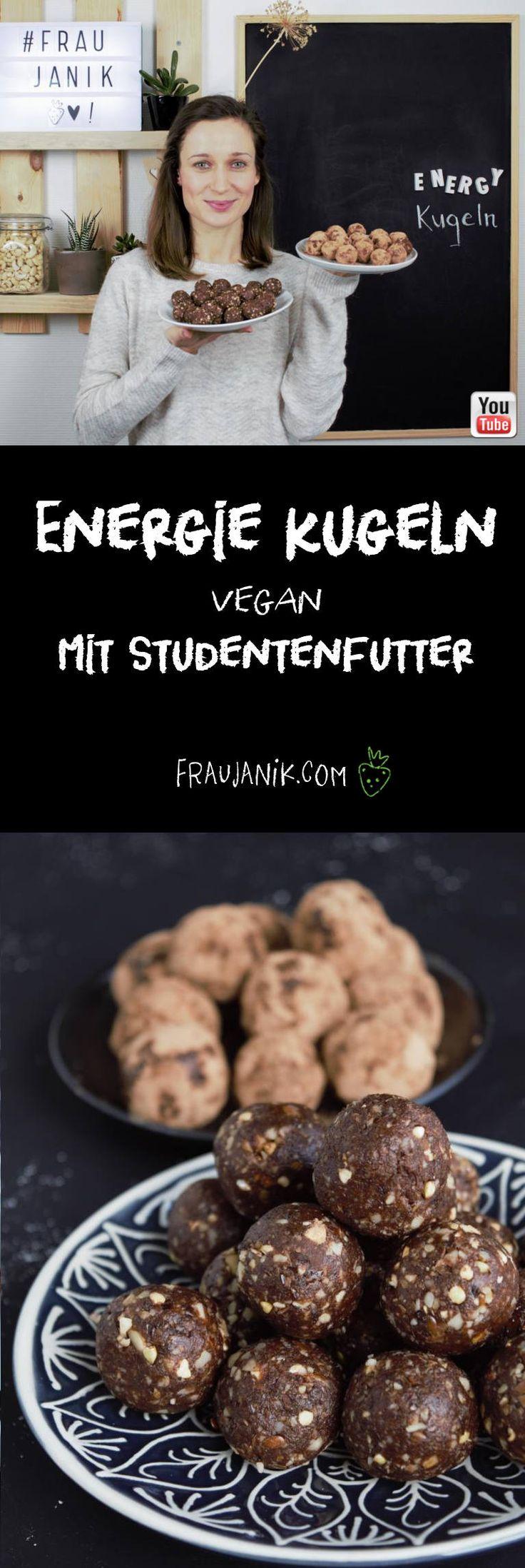 Energie Kugeln mit Studentenfutter, vegan  - gesundes Naschen für Zwischendurch... #vegan #gesundesnacks #gesund #zuckerfrei #ohnezucker #snacks #gesundepralinen #pralinen #kakao #datteln #nüsse #fraujanik