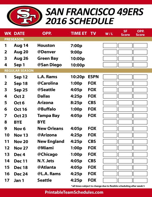 2016-17 San Francisco 49ers Schedule https://www.fanprint.com/licenses/san-francisco-49ers?ref=5750