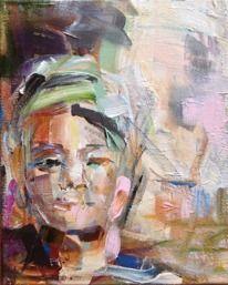 Kvinna med hårband.  35x28   1500kr Akryl på duk  Monika Lundin