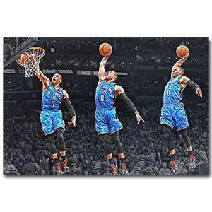 """Russell Westbrook Dunks Basketball Sports Art Silk Poster 12x18"""" 24x36"""""""