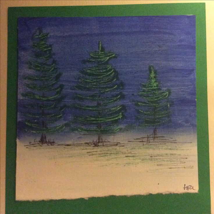 Christmas card, handmade, using oil pastels and paint.