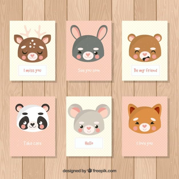 Variety of cards with cute animal faces Free Vector