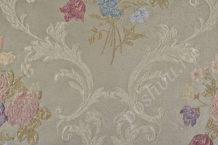 Ткань для мебели жаккард бежевого цвета с флористическим узором