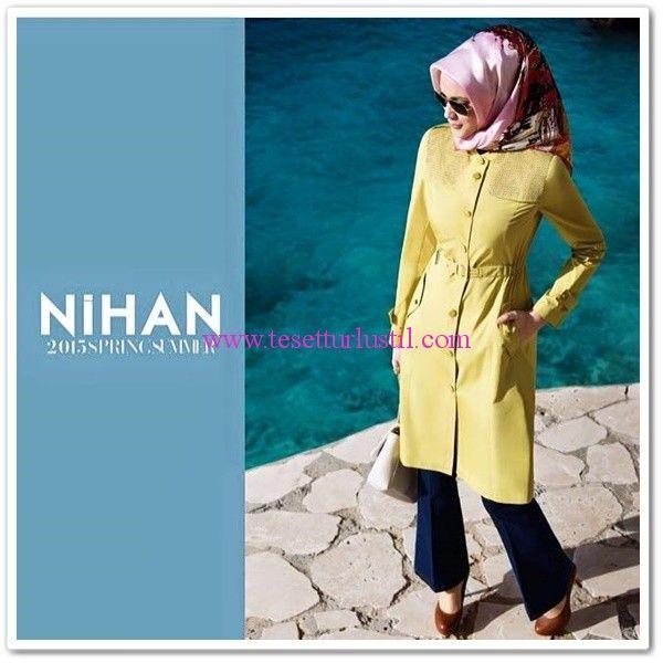 Nihan Giyim 2015 sarı trençkot