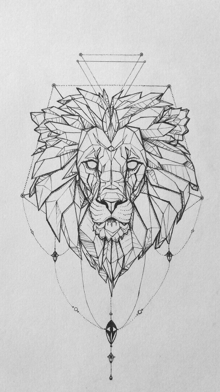 Just finished! Geometric lion head for a friend More