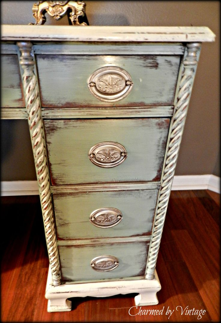 Shabby French Antique Duck Egg Blue Desk by CharmedByVintage (I love this for me!)