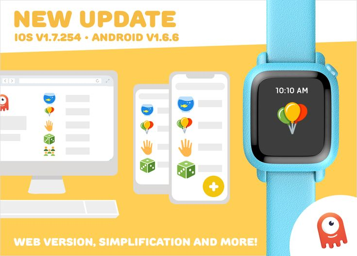 What's New Wednesday- iOS and Android Updates, Web version, and More!  #OctopusIconBasedWatch #iconbasedwatch #visualscheduling #adaptivecoaching #hardware #iot #startup #octokid #familytech #wearable #smartkids #innovation #watch#educational #toys #OctopusWatch #update #improvements #newfeatures