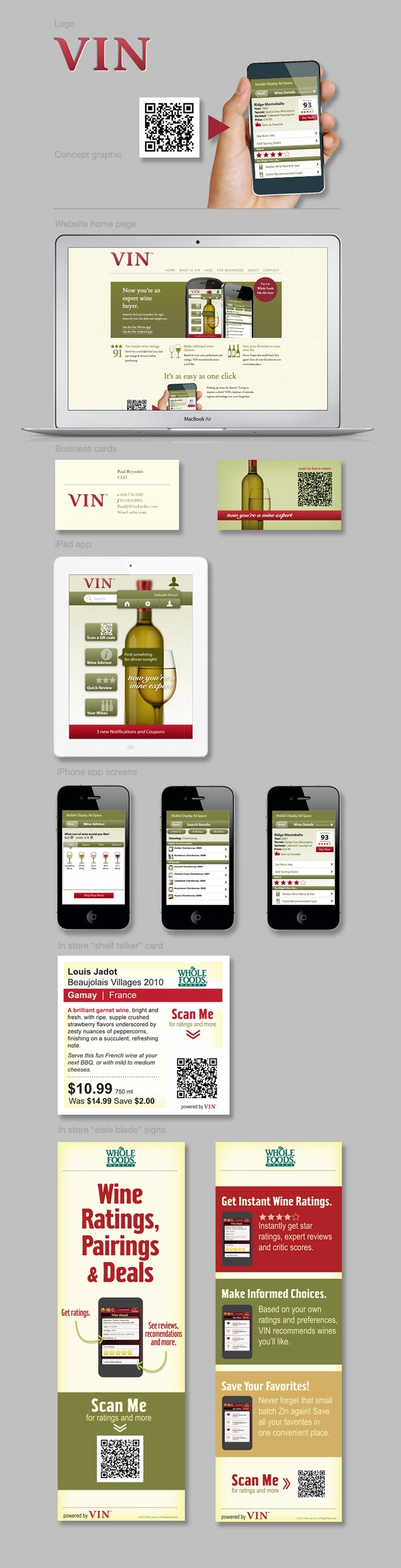 VIN | Wine List a powerful in-store point of purchase consumer information system. Design and marketing by Rob Gemmell, via Behance