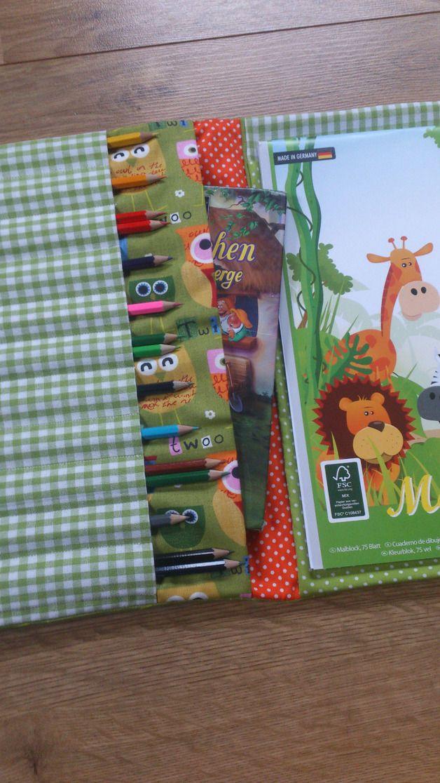 Malbücher - Malbuch, Stiftemäppchen,incl.Stifte,Block/Eule - ein Designerstück von Creative-Happiness bei DaWanda