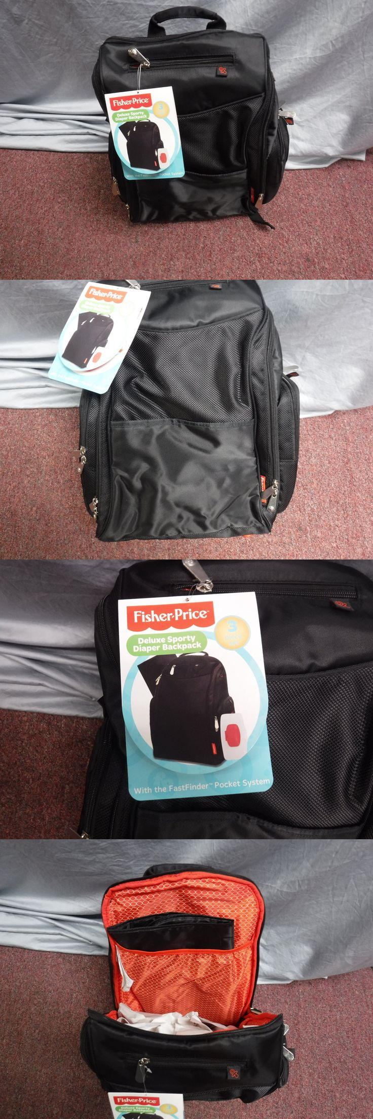 Diapering 45455: New Fisher Price Deluxe Sporty Backpack Diaper Bag 3 In 1 Set Black -> BUY IT NOW ONLY: $31.45 on eBay!