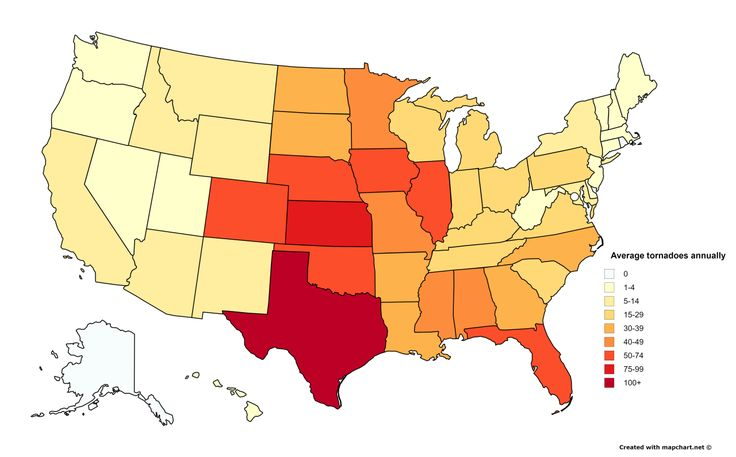 Average number of tornadoes annually by US State.