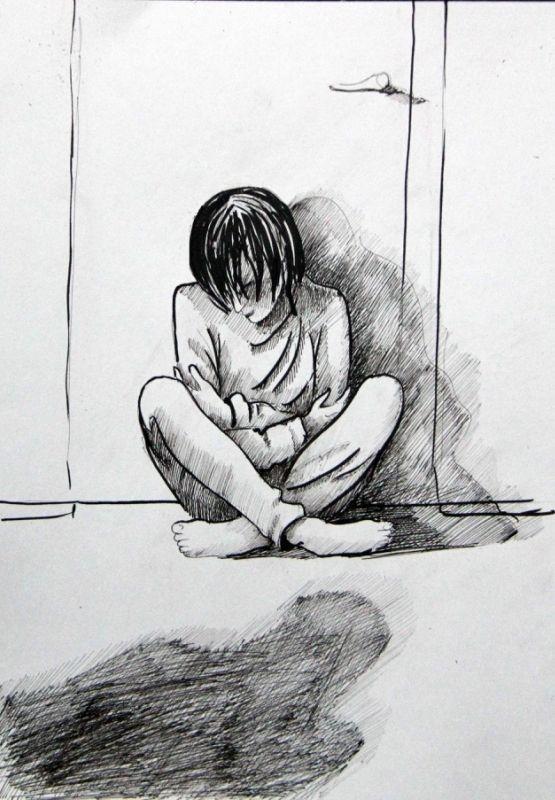 """""""Слепой сидел на корточках под его дверью, выводя пальцем на паркете невидимые круги. Длинные черные волосы падали на лицо. Из дырок на джинсах торчали колени. На звук шагов он поднял голову — тощий, с бесцветными глазами, безликий и безвозрастный, как бродяга, не помнящий даты своего рожденья. Вставая, стремительно помолодел, а навстречу Ральфу выпрямился совсем мальчишкой. В сумраке коридора любой, кроме Ральфа, счел бы это обманом зрения, наваждением..."""""""