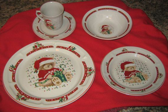 Items similar to Tienshan Stoneware Christmas Teddy Bear Dinnerware on Etsy & 19 best THEODORE BEAR DISHES images on Pinterest | Dinnerware Dish ...