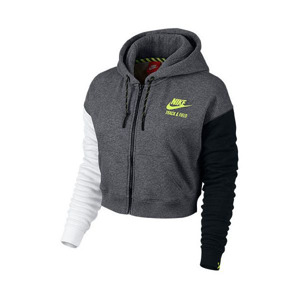 Women's Nike Track and Field Cropped Full-Zip Hoodie ($95) ❤ liked on Polyvore featuring activewear, nike sportswear, nike and nike activewear