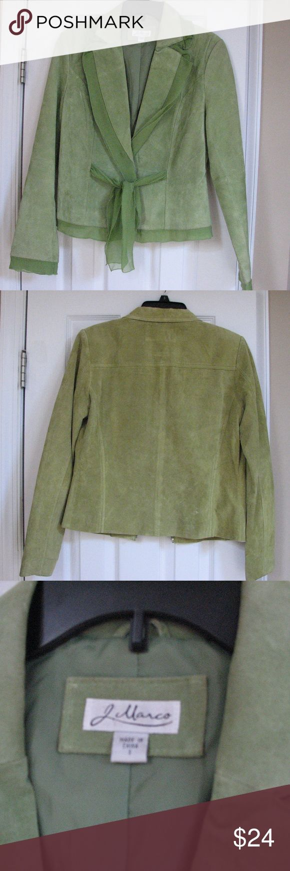"Leather Suede J Marco Green Jacket Coat Lined Silk Excellent Used Condition Women's J Marco Leather Suede Green Jacket - Beautiful coat!  One snap (plastic snap) and tie closure  Size Small  The cuffs have slight staining- see photo.  You really have to look hard to find it.  Dry clean by leather specialist  100% leather outer, lining 100% polyester, trim 100% silk  APPROXIMATE measurements:  shoulder to hem 21.5"", sleeve 24"" including trim J Marco Jackets & Coats"