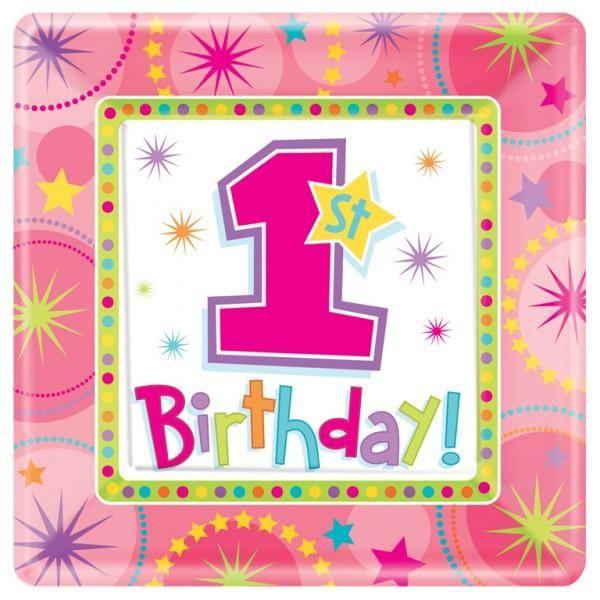 Piatti 1° Compleanno bambina pz.8   Europarty