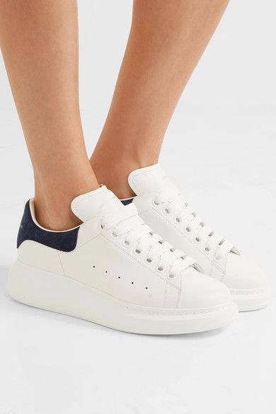 Alexander McQueen - Suede-trimmed Leather Exaggerated-sole Sneakers - White - IT38.5