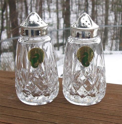 WATERFORD CRYSTAL Salt u0026 Pepper Shakers EPNS Electroplated Silver Lids USED COND : salt and pepper dinnerware - Pezcame.Com