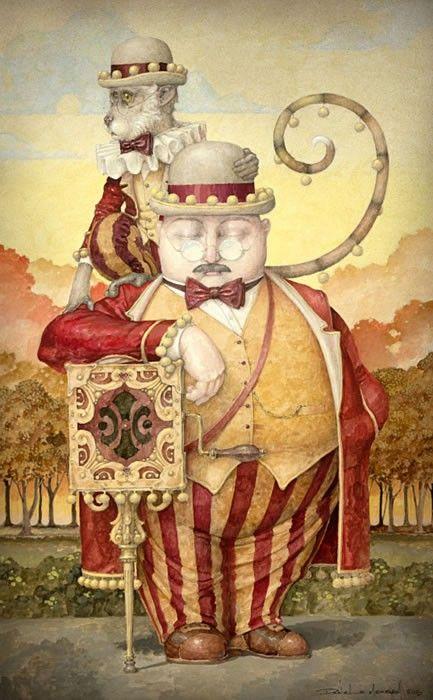 """""""The Hurdy-Gurdy Snooze"""" ~ Daniel Merriam ~ Watercolorist Extraordinaire ~ Miks' Pics """"Daniel Merriam l"""" board @ http://www.pinterest.com/msmgish/daniel-merriam-l/"""