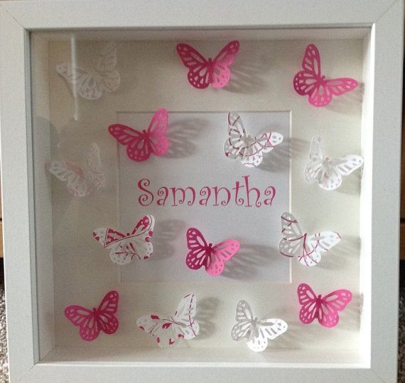 Personalised Box Picture Frame Wedding Christening Butterflies Pink Purple Black/Silver Gift Christmas