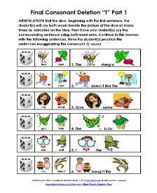 """Free weekly activity from Teach Speech Now..  Final consonant deletion of /t/.  Five pages!  Go to our website and click on the """"Free Download"""" button."""