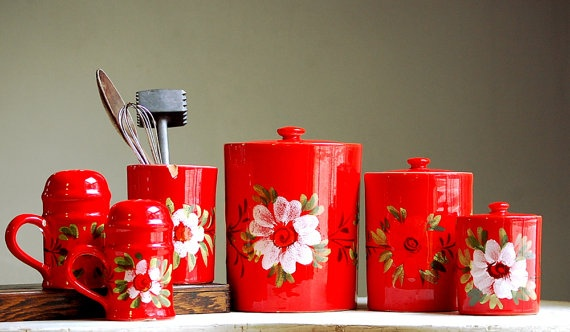 Vintage Italian Kitchen Canisters - Kitchen Storage - Bright Red Kitchen Canisters via Etsy