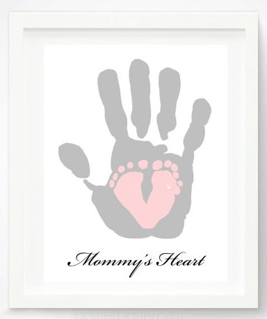 """Valentine's Day Gifts for Mom, Dad, & the Grandparents:  """"Mommy's Heart"""" Personalized Hand and Foot Print Artwork Print by Pitter Patter Pri..."""