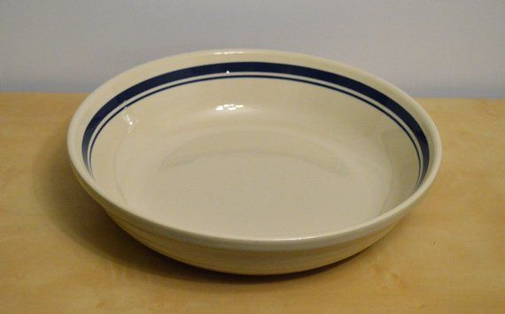 Friendship Pottery 13 Pasta Serving Bowl Farmhouse Ringed Blue