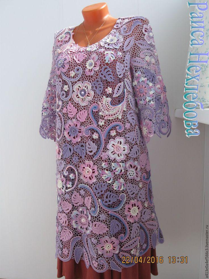 Купить Платье Магнолия - сиреневый, платье, Платье нарядное, платье на заказ, ирландское кружево, ирландия