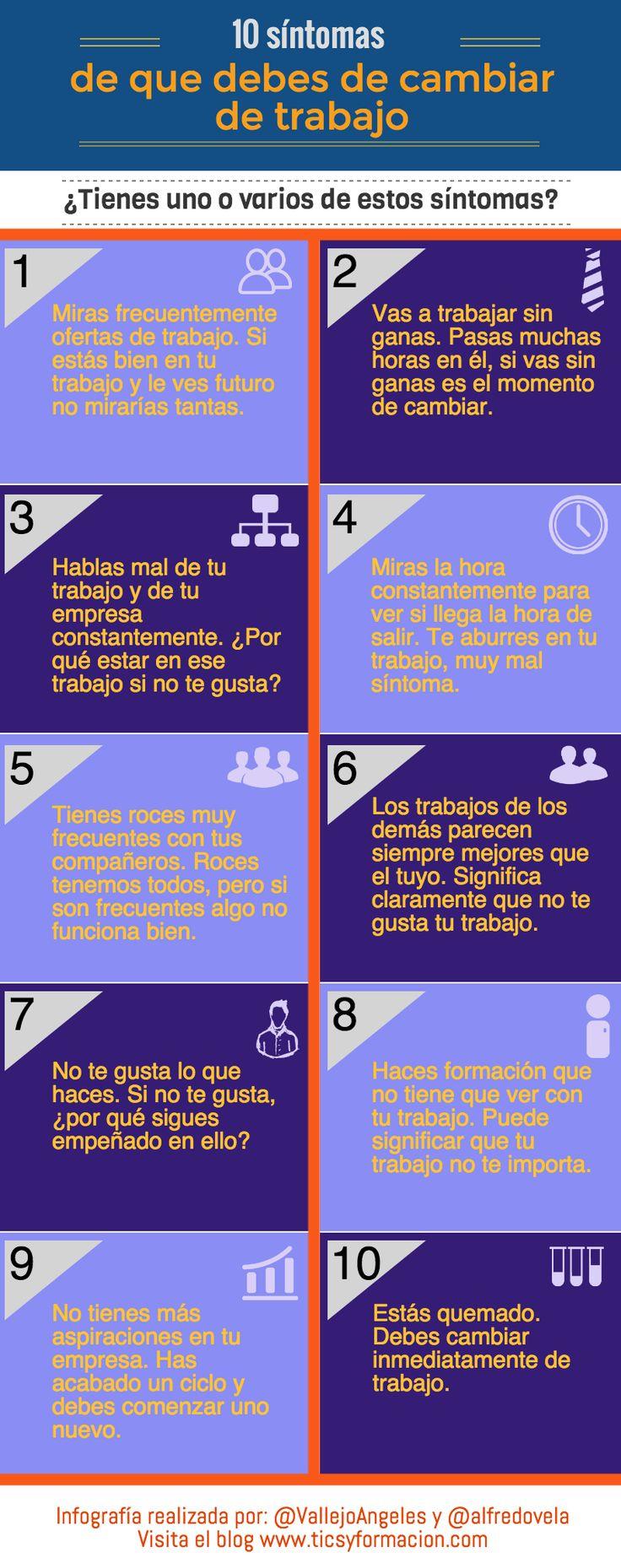 Hola: Una infografía con 10 síntomas de que debes cambiar de trabajo. Un saludo