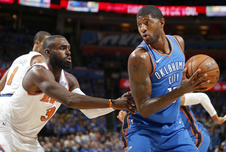 Oklahoma City's Paul George (13) tries to get past New York's Tim Hardaway Jr. (3) during an NBA basketball game between the Oklahoma City Thunder and the New York Knicks at Chesapeake Energy Arena in Oklahoma City, Thursday, Oct. 19, 2017. Photo by Bryan Terry, The Oklahoman