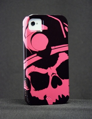 iPhone Vibe Case (Pink)- Black Helmet Firefighter Apparel