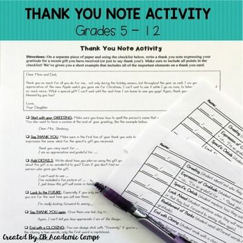 This easy-to-use Thank You Note Activity is perfect for your middle school or high school classroom. This activity is all about showing your…
