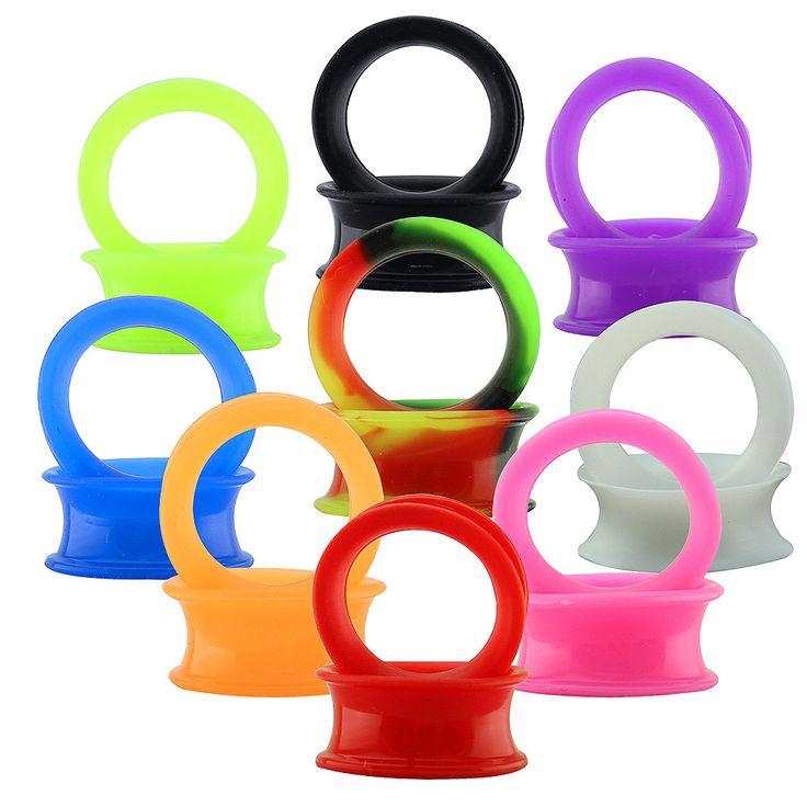 3-25mm Medidores de Oído de Silicona Flexible Kit Doble Evasé Túnel Enchufe con Diferente Color de Silicona Túneles Del Oído Del Oído ampliador de La Joyería