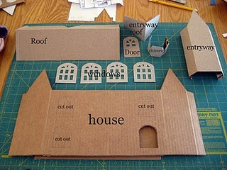 Tutorial for glitter houses: Boxes House, Cardboard House, Floors Plans, Putz House, Christmas Village, Glitter Houses, Cereal Boxes, Gingerbread House, Dolls House