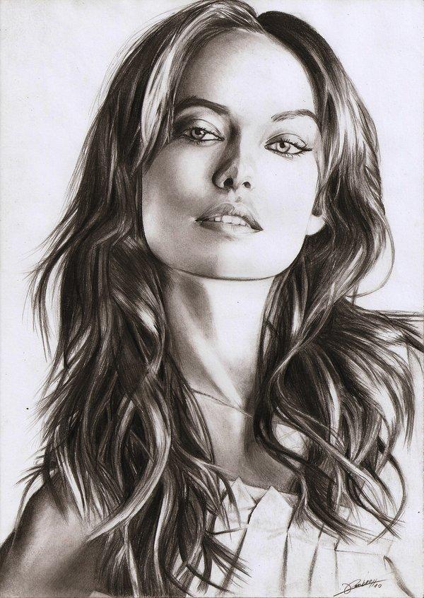 Amazing pencil work! Olivia Wilde pencil portrait by AmBr0