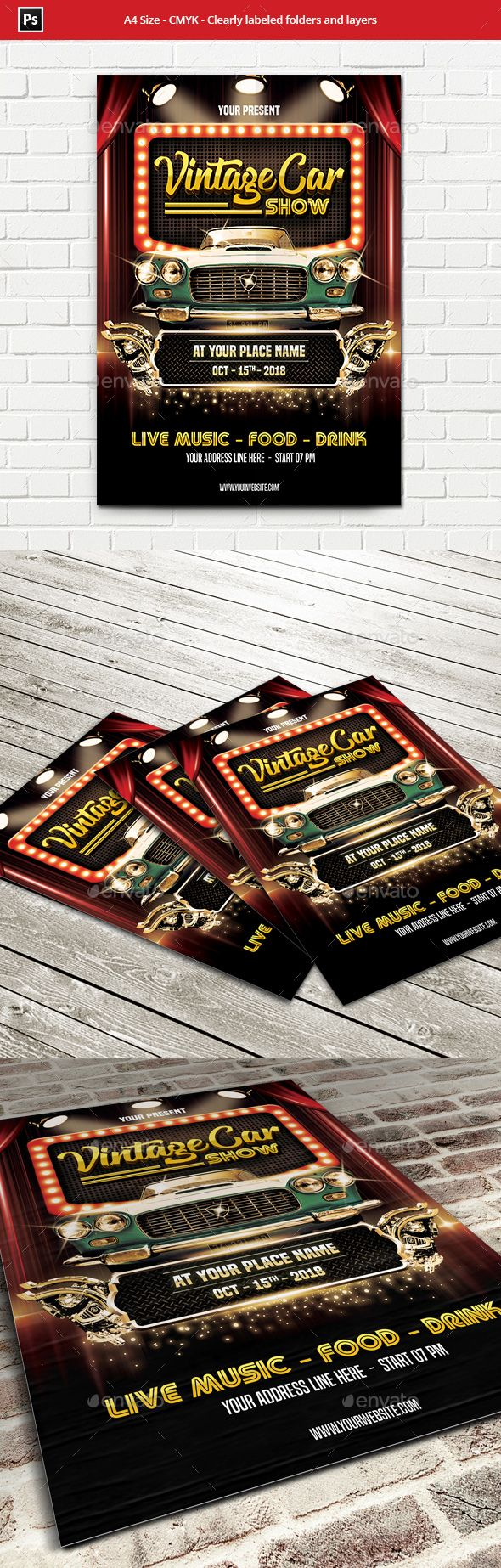 Vintage Car Show Flyer Template Flyer Design Inspiration - Blank car show flyer