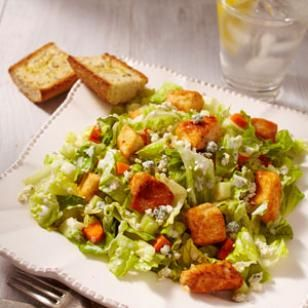 Buffalo Chicken Salad  Recipe-- All the flavor of Buffalo chicken wings is packed into this irresistible, healthy salad. But unlike chicken wings, you can eat a big serving of this healthy Buffalo chicken salad recipe for just 291 calories.