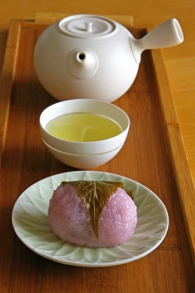 Japanese green tea and sakura mochi sweets