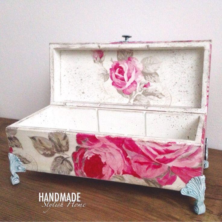 a little bit of the good old shabby chic  handmade, wooden, shabby chic pink roses tea box, iron feet   handmadestylishhome.etsy.com
